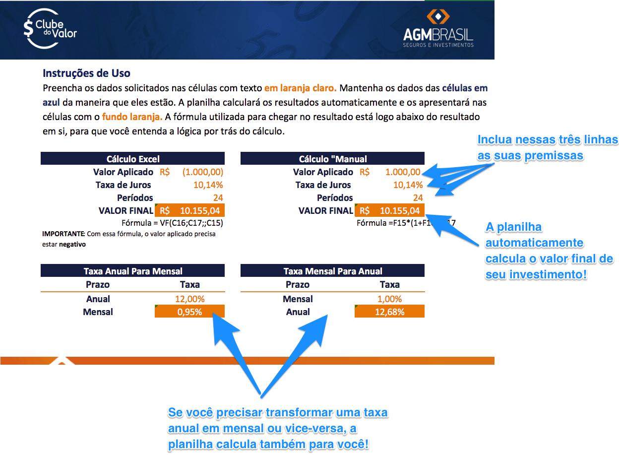 bca9c3cad49d Juros Compostos: Aprenda a Calcular no Excel e na HP12C   Clube do Valor